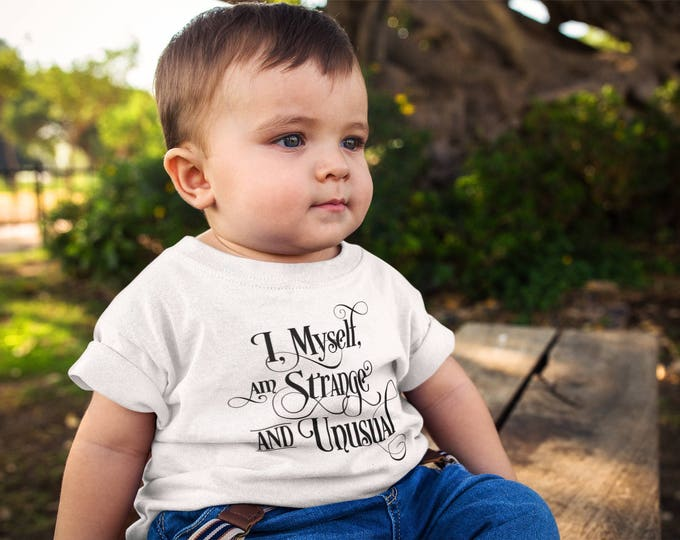 Featured listing image: Beetlejuice Inspired - I, Myself, am Strange and Unusual - Baby's T Shirt or Onesie