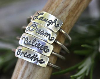 Word Ring Word Rings Sterling Silver Stacking Rings Stackable Rings Breathe Ring Laugh Ring Dream Ring Believe Ring Inspirational Jewelry