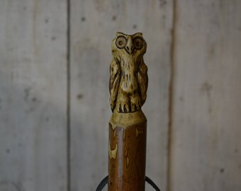 Walking Stick Owl Carving Persimmon, Strong Kiln Dried Hiking Staff 1708