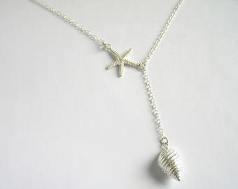 Sterling silver Starfish and seashell lariat necklace. Starfish and seashell Y necklace. Sea star and seashell charm. Beach wedding jewelry.