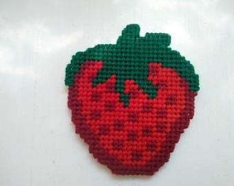 Strawberry Refrigerator Magnet, Fruit Magnet, Food Magnet, Kitchen Magnet, Decorative Magnet, Plastic Canvas Magnet, Kitchen Decor