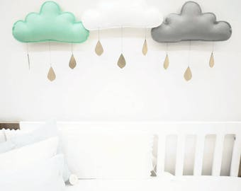 3 rain clouds for nursery by The Butter Flying-nursery decor-cloud decor-cloud mobile-baby gift-nursery- chic nursery. baby boy nursery.baby