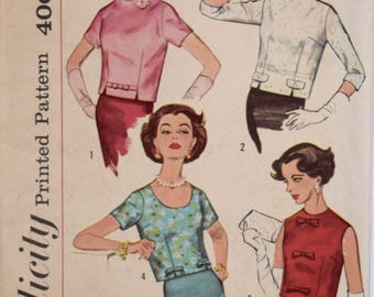 1960s Blouses Simplicity 2773 Vintage Sewing Pattern Set in Sleeves or Sleeveless Bow Trim Round Neckline Cut Unused 60s Fashion Bust 34