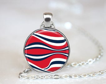 Red White Blue Changeable Magnetic Pendant Necklace with Organza Bag