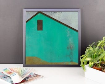 Country Farm Barn Framed Poster, Framed Rustic Home Decor, Framed Matte Poster, Country Home, Rustic, Color options Red Pink Green Blue