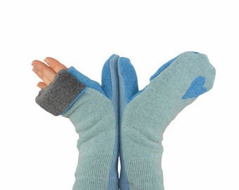 Convertible Flip Top Mittens in Icy Blues with Hearts - Recycled Wool - Fleece Lined