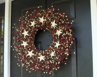 SUMMER WREATH SALE July 4th Berry Wreath, Fourth of July Decor, Summer Patriotic Wreath, Memorial Day Decor, July 4th Decoration