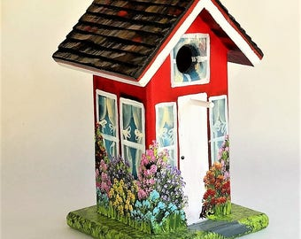 Handmade Red and White Outdoor Birdhouse for Wild Birds , Roof Hand Carved , Hand Painted , Unique , and Colorful