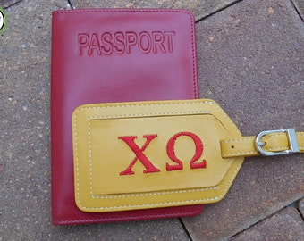 Luggage Tag and Passport Cover for Chi Omega Sorority