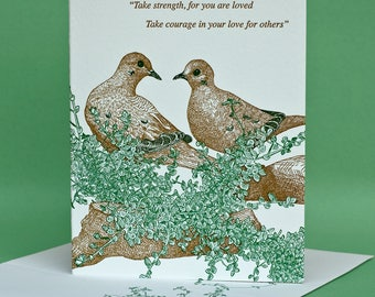 Thyme with Doves Encouragement or Blank Note Card