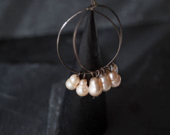 Sterling silver and Pearls earrings /  Hoop Earrings / Bohemian Jewelry