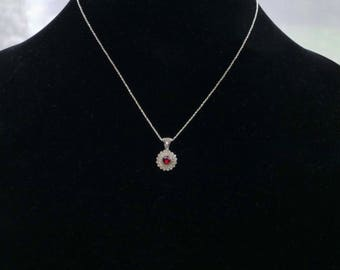 Rose cut Genuine Garnet Pendant