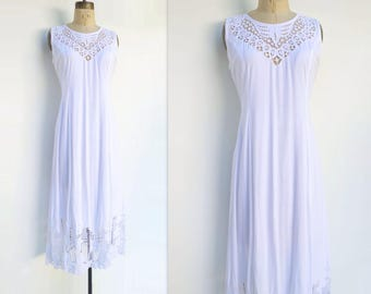 90s White Lace Dress Vintage White Dress Broderie Anglais Cutwork Lace Dress Boho White Dress Boho Lace Dress Sleeveless Dress m