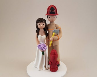 Bride & Groom Personalized Firefighter Wedding Cake Topper