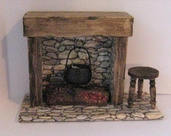 Dollhouse Fireplace, country fireplace, smaller fireplace, Tudor fireplace, twelfth scale, dollhouse miniature
