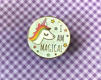 I am Magical Unicorn White Glitter Enamel Pin