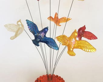 Vintage Mod 60s Lucite Birds In Flight Table Top Sculpture Acrylic Resin 1969 New Designs Inc.