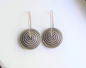 Modernist Sterling Earrings - 925, Sterling Silver, Abstract, Pierced