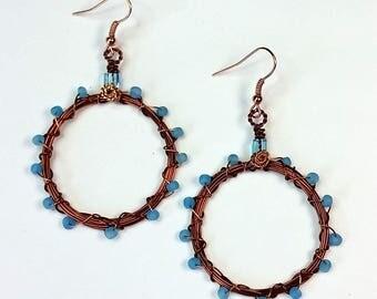 Dark Copper Hoop Earrings with Aqua Bead Accent on Copper Ear Wire