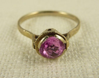 Antique Art Deco 10k White Gold and Pink Ruby Petite Ring Size 4