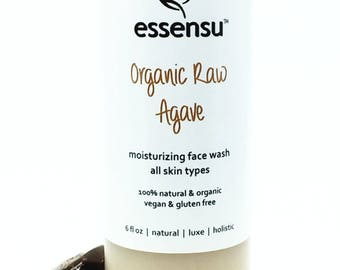 Organic Raw Agave Nourishing All Natural Face Wash | All Skin Types | Moisturizing | Sensitive Skin | No Sulfates , No Gluten | Vegan - 6 oz