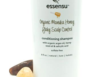 Organic Manuka Honey Flaky Scalp Control Salicylic Acid Argan Oil Conditioning Shampoo | Assists Dry , Itchy , Oily Scalp Conditions - 8 oz