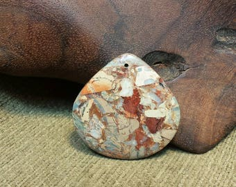 Natural Snakeskin Jasper Squat Teardrop