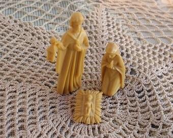 1940s Germany Nativity Small Plastic Nativity Joseph Mary Jesus Marked Germany Miniature Nativity