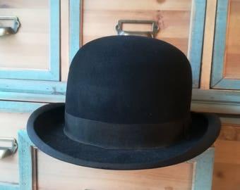 Antique Hat - Bowler Hat - Black Hat - Old Hat -  Size 57