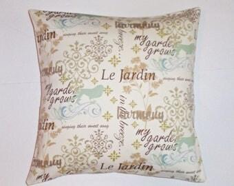 SUMMER SALE - Throw Pillow Cover, Inspirational Garden Home Decor, Pretty Blue & White Accent Pillow Cover, Elegant Handmade Cushion Cover