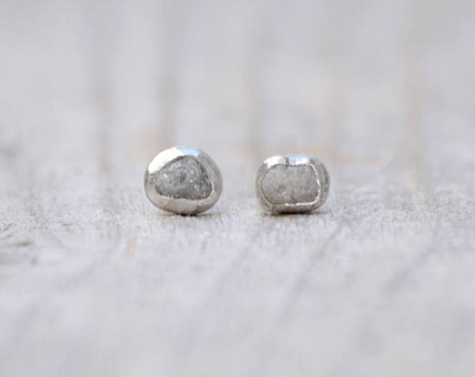 Raw Diamond Earring Studs, Grey Diamond Wedding Gift Handmade In England