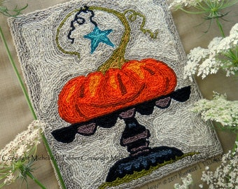 Jack O Lantern Pumpkin Pedestal Harvest halloween Punch Needle Embroidery DIGITAL Jpeg and PDF PATTERN Michelle Palmer Painting w/Threads