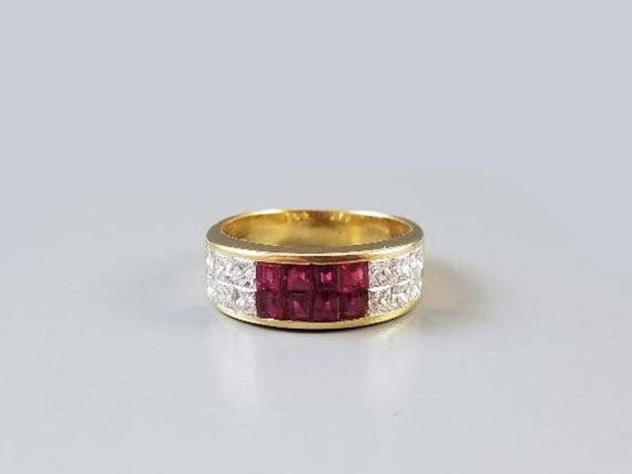 Vintage estate 18k gold channel set square princess cut ruby diamond trillion cut diamond band ring, size 8-1/4, wedding band, wedding ring
