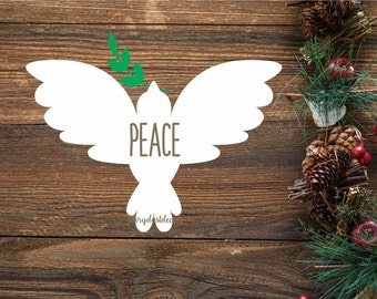 Peace decal, dove sticker, peace sticker, laptop decal, vinyl wall decal, peace on earth, inspirational, quote, christmas dove, peace dove