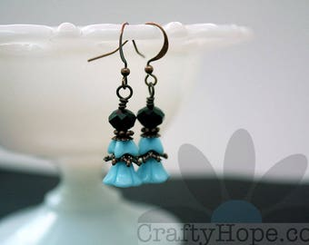 Blue Flowers Earrings - glass flower beads, blue, copper findings, black crystal