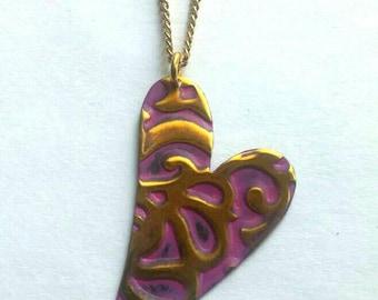 Heart Necklace, Vintaj Jewelry, Valentines, Vintaj Necklace, Love Jewelry, Patina Metal, Pink Heart, Hand Painted