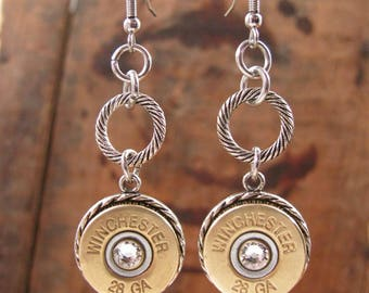 Bullet Earrings - Bullet Jewelry - 28 Gauge Shotgun Casing Classic Dangle Earrings - A SureShot Original