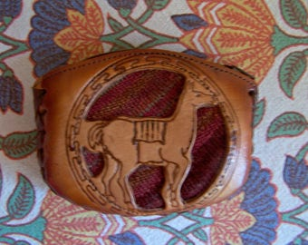 Coin Bag, Leather, Hand tooled, Indian, coin purse, Alpaca