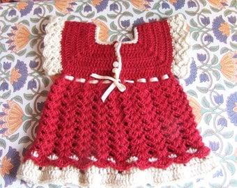 Baby Dress, Red, Handmade, Crochet, Valentine, Dress, size 12 mo
