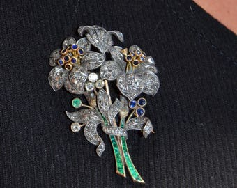 Victorian French Paris 18K & Silver Diamond Emerald and Sapphire Large Brooch