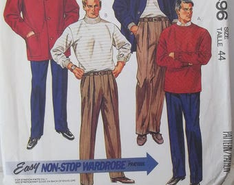 Men's Unlined Jacket, Top & Pants McCall's 4496 Sewing Pattern, Button Front Jacket with Pockets, Pleated Pants, Stretch Knits Only Size 44