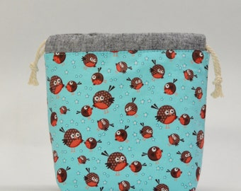 Round Robin Small Drawstring Knitting Project Craft Bag - READY TO SHIP