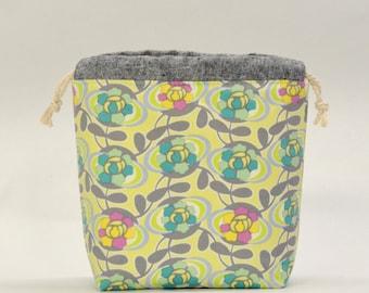 Blooming Trellis Small Drawstring Knitting Project Craft Bag - READY TO SHIP