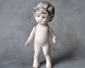 "Vintage 4.75"" Bisque Doll with Silver Hair Jointed Arms Japan"