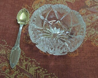 Cut Glass Master Salt With Silver Spoon, Large Crystal Salt - Antique Crystal Salt - Silver Spoon