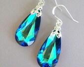 Bermuda Blue earrings, Swarovksi crystal teal teardrop earrings, bridal earrings, sterling silver, teal blue peacock