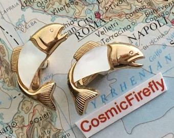 Men's Vintage Cufflinks Antique Gold Fish Cufflinks Made In USA SWANK Cufflinks Mother Of Pearl Cufflinks Steampunk Cufflinks