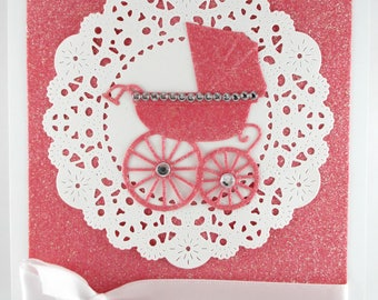 Baby girl card, baby shower, pram, baby carriage, welcome baby, congratulations parents