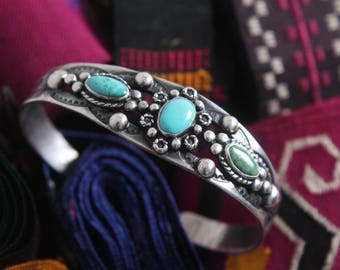 native turquoise + sterling silver cuff bracelet navajo
