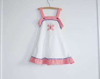 Vintage White Polyester Girl's Dress
